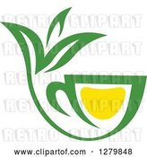 Vector Clip Art of Retro Green and Yellow Tea Cup with Leaves 7 by Vector Tradition SM