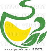 Vector Clip Art of Retro Green and Yellow Tea Cup with Leaves 8 by Vector Tradition SM
