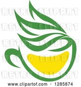 Vector Clip Art of Retro Green and Yellow Tea Cup with Leaves 9 by Vector Tradition SM