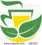 Vector Clip Art of Retro Green and Yellow Tea Cup with Leaves and Steam by Vector Tradition SM