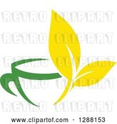 Vector Clip Art of Retro Green and Yellow Tea Cup with Leaves by Vector Tradition SM
