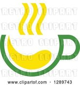 Vector Clip Art of Retro Green and Yellow Tea Cup with Steam 2 by Vector Tradition SM