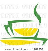 Vector Clip Art of Retro Green and Yellow Tea Cup with Steam by Vector Tradition SM