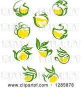 Vector Clip Art of Retro Green and Yellow Tea Cups and Pots with Leaves 2 by Vector Tradition SM