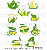 Vector Clip Art of Retro Green and Yellow Tea Cups and Pots with Leaves 3 by Vector Tradition SM