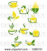 Vector Clip Art of Retro Green and Yellow Tea Cups and Pots with Leaves 4 by Vector Tradition SM