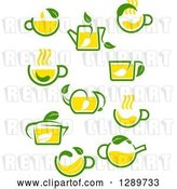 Vector Clip Art of Retro Green and Yellow Tea Cups and Pots with Leaves 5 by Vector Tradition SM