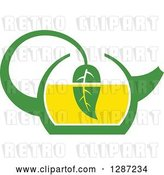 Vector Clip Art of Retro Green and Yellow Tea Pot with a Leaf Dipping in the Liquid by Vector Tradition SM