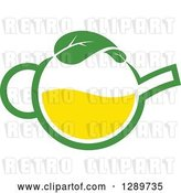 Vector Clip Art of Retro Green and Yellow Tea Pot with Leaves 10 by Vector Tradition SM