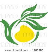 Vector Clip Art of Retro Green and Yellow Tea Pot with Leaves 4 by Vector Tradition SM