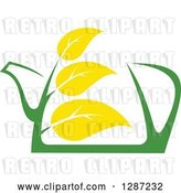 Vector Clip Art of Retro Green and Yellow Tea Pot with Leaves 6 by Vector Tradition SM