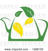 Vector Clip Art of Retro Green and Yellow Tea Pot with Leaves 7 by Vector Tradition SM