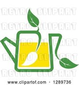 Vector Clip Art of Retro Green and Yellow Tea Pot with Leaves 8 by Vector Tradition SM