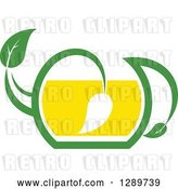 Vector Clip Art of Retro Green and Yellow Tea Pot with Leaves 9 by Vector Tradition SM
