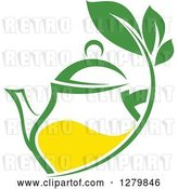 Vector Clip Art of Retro Green and Yellow Tea Pot with Leaves by Vector Tradition SM