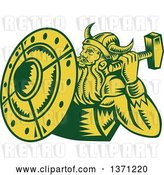 Vector Clip Art of Retro Green and Yellow Woodcut Male Viking Warrior with a Hammer and Shield by Patrimonio