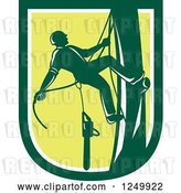 Vector Clip Art of Retro Green Arborist Climbing a Pole in a Shield by Patrimonio