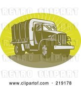 Vector Clip Art of Retro Green Army Truck Logo by Patrimonio