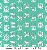 Vector Clip Art of Retro Green Background of White Abstract Eyes by Prawny