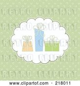 Vector Clip Art of Retro Green Background with a Cloud and Three Gifts by KJ Pargeter