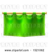 Vector Clip Art of Retro Green Banner Suspended from a Golden Pole by AtStockIllustration