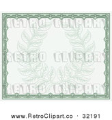Vector Clip Art of Retro Green Certificate with Laurel Wreath by AtStockIllustration