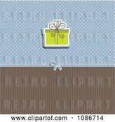 Vector Clip Art of Retro Green Christmas Baby Shower or Birthday Gift over Blue Polka Dots and Brown Stripes by KJ Pargeter