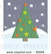 Vector Clip Art of Retro Green Christmas Tree with Stars on a Snowy Hill by Prawny