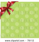 Vector Clip Art of Retro Green Circle Background with a Red Corner Ribbon and Bow by Pushkin