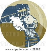 Vector Clip Art of Retro Green Circle Steam Train Logo by Patrimonio