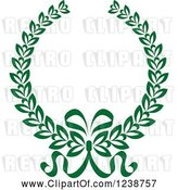 Vector Clip Art of Retro Green Coat of Arms Wreath with Ribbons by Vector Tradition SM