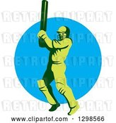 Vector Clip Art of Retro Green Cricket Batsman over a Blue Circle by Patrimonio