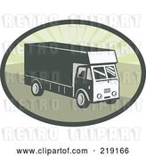 Vector Clip Art of Retro Green Delivery Van Logo by Patrimonio