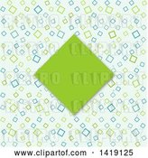 Vector Clip Art of Retro Green Diamond Frame over a Pattern by KJ Pargeter