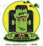 Vector Clip Art of Retro Green Frankenstein with Vampire Bats by Andy Nortnik
