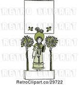 Vector Clip Art of Retro Green Girl with a Doll Trees and Copyspace by Prawny Vintage