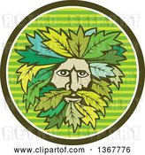 Vector Clip Art of Retro Green Guy Face with Leaf Hair in a Striped Circle by Patrimonio