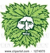 Vector Clip Art of Retro Green Guy Face with Leaves by Patrimonio