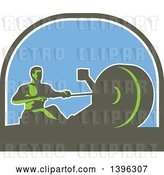 Vector Clip Art of Retro Green Guy Working out on a Rowing Machine, in a Half Circle by Patrimonio