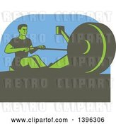Vector Clip Art of Retro Green Guy Working out on a Rowing Machine, over Blue by Patrimonio