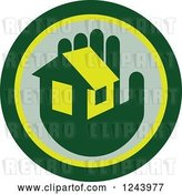 Vector Clip Art of Retro Green Hand Holding a House in a Circle by Patrimonio