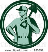 Vector Clip Art of Retro Green Landscaper with a Shovel in a Circle by Patrimonio