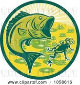 Vector Clip Art of Retro Green Largemouth Bass and Frog Circle by Patrimonio