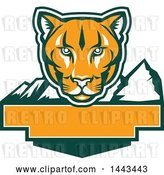 Vector Clip Art of Retro Green, Orange and White Puma Cougar Mountain Lion Face over Mountains and a Blank Banner by Patrimonio