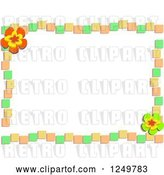 Vector Clip Art of Retro Green Orange and Yellow Tile and Flower Border by