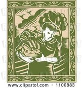 Vector Clip Art of Retro Green Organic Farmer Carrying Fresh Produce in a Bowl with an Ornate Frame by Patrimonio