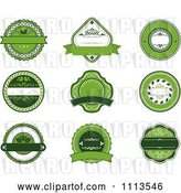 Vector Clip Art of Retro Green Organic Natural Labels by Vector Tradition SM