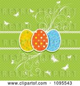 Vector Clip Art of Retro Green Polka Dot Easter Egg Background with Flourishes and Butterflies by KJ Pargeter