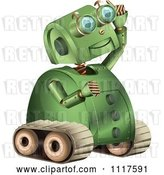 Vector Clip Art of Retro Green Rover Robot Gazing Upwards by Graphics RF
