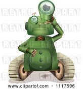 Vector Clip Art of Retro Green Rover Robot Gazing Upwards with a Telescope by Graphics RF